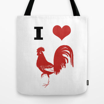 I Love Chickens Tote Bag by The Lettered Bee