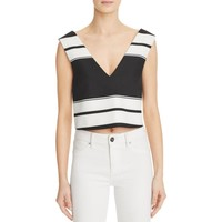Kendall + Kylie Womens Double-V Striped Crop Top