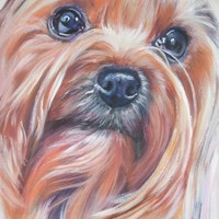 Yorkshire Terrier yorkie dog portrait CANVAS print of LA Shepard painting 8x10 dog art