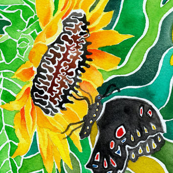 Sufi Sunflower (Vivid Psychedelic Spiritual Butterfly Summer Watercolor Painting in Gold, Green, Umber and Velvety Black)