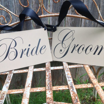 Bride & Groom - Wedding Chair Signs, Reception Signs, Photo Prop, Mr Mrs Chairs Wedding Signs