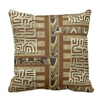 Abstract Mud Cloth Design in Gold, Black, Brown Throw Pillow
