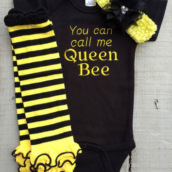 Queen Onesuit, Bumblebee, You Can Call Me Queen Bee, baby girl embroidered Onesuit 3 piece outfit