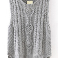 Grey Knitted Asymmetric Vest