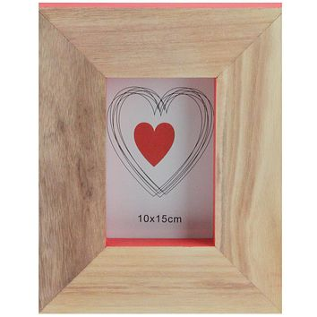 """Basic Luxury Wood Picture Frame with Living Coral Pink Accented Edges 10"""""""