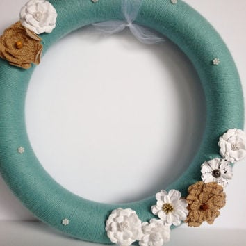 Blue, Green yarn wreath with burlap and fabric flowers- 14 inches