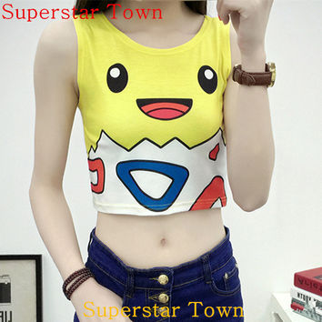 2016 Fashion Crop Top Pokemon Pocket Monster Togepi Ladies Girls Sexy Short Tank Bare Midriff Vest Tank Tops Tee