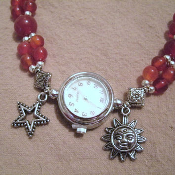Celestial Wrist Watch, wiccan jewelry pagan jewelry wicca jewelry gypsy witch witchcraft goddess new age metaphysical magic mystic celtic