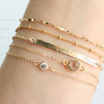 Personalized Layering Bracelets Gold Dainty Bar Br