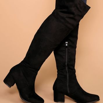 Dublin Black Block Heel Over The Knee Boots