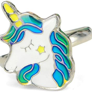 Fairy Tale Cute Unicorn Kids Color Change Mood Ring For Girls Size Adjustable