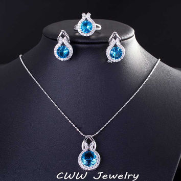 925 Sterling Silver Sapphire Jewelry Fashion Light Blue Cubic Zircon Crystal Necklace Earrings And Ring Set For Women  T200