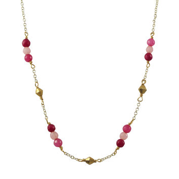 Garnet Combination 4mm Semi Precious Faceted Stones And Gold Diamond Shape Beads, Gold Plated Brass Chain Necklace