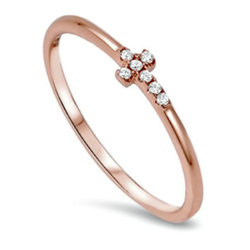 Sterling Silver Rose Gold Ladies Christian Cross Midi Ring or Knuckle ring size 2-10