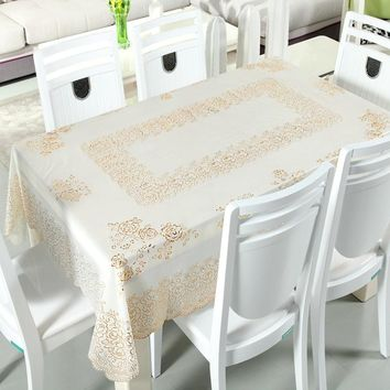 PVC Anti-oil Tablecloth Lace Plastic Waterproof Bronzing Europe Floral Home Decoration For Wedding Hotel Party Table Dust Cover