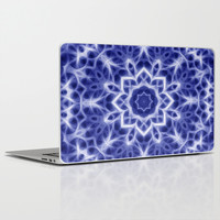 Blue and White Glowing Kaleidoscope Mandala Laptop & iPad Skin by Tigerlynx