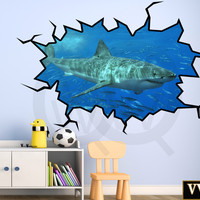 Shark Wall Decal 3D Wall Art Peel and Stick Great White Shark Sticker VWAQ-WC17