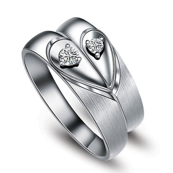 Love Heart Matching Lover Rings