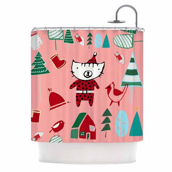 """bruxamagica """"Cute Santa Cat Pink"""" Pink Red Animals Holiday Illustration Shower Curtain"""