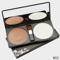 Cosmetic 2 Colours Silky Waterproof Highlight Shadow Contour Pressed Powder Palette with Mirror and Brush