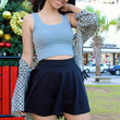 Lucy Grey Fitted Crop Tank