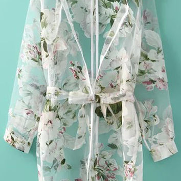 White Mesh Floral Long Sleeve Bow Belted Blouse