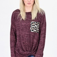 Leopard Pocket Heathered Hacci Twisted L/S {Plum}