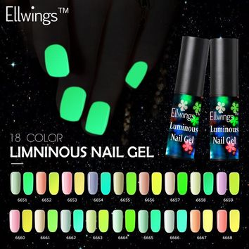 Ellwings Glitter Fluorescent Neon Luminous Colors Uv Led Nail Polish Glow In Dark Gel Varnish Lighting In Night Nail Gel
