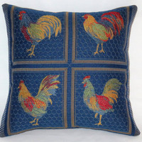 """Blue Chicken Pillow, Small 12"""" Square, Colorful Rooster Brocade in Royal, Red, Yellow, Green, Orange, Country Decor, Insert Included"""