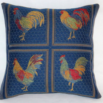 "Blue Chicken Pillow, Small 12"" Square, Colorful Rooster Brocade in Royal, Red, Yellow, Green, Orange, Country Decor, Insert Included"
