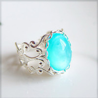Blue Silver Ring Turquoise Blue Aqua Ring Seafoam Blue Ring Lord of the Ring - Aqua Luna