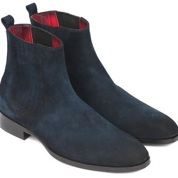 Paul Parkman (FREE Shipping) Navy Suede Chelsea Boots (ID#SD875NVY)
