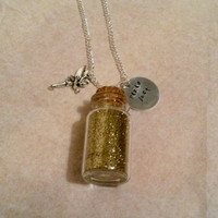 Hand stamped Pixie Dust Tinkerbell necklace