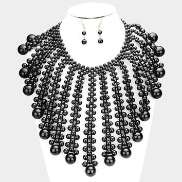 Dramatic Pearl Bubble Collar Statement Necklace
