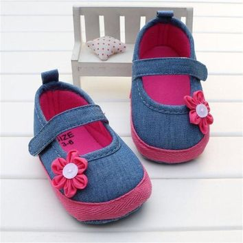 ONETOW Adela Flower Baby Girls Shoes With Magenta Flower Blue Denim First Walker Princess Tod