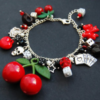 CHERRY CASINO: Rockabilly Silver Adjustable Charm Bracelet