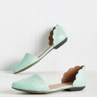 On the Scallop and Up Flat in Seafoam | Mod Retro Vintage Flats | ModCloth.com