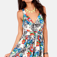 Band of Florals Ivory Floral Print Dress