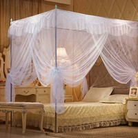 Nattey White 4 Corners Lace Bedding Curtain Canopy Mosquito Netting Canopies Twin Full Queen California King (Full)