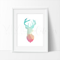 Mint + Coral Geometric Poly Deer Stag Head