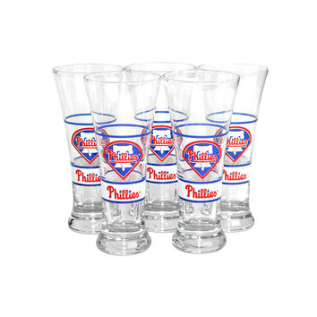 Phillies MLB Baseball Pilsner Set - Tall, Fluted Philadelphia Beer Glasses by Libbey Glass Company, 1991 - Vintage Bar Decor or Gift