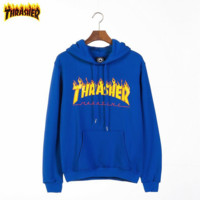Thrasher Tide brand classic flame letter printing couple hooded sweater Blue