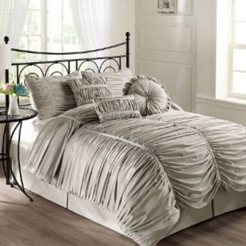 Chezmoi Collection 7-piece Chic Ruched Comforter Set, Queen Size, Gray (with Throw Pillows)