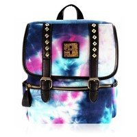ZLYC Fashion Tie Dye Gradient Studded Canvas Backpack