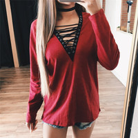 Woman Blouse Shirt Women Deep V Neck Lace Up Shirts Sexy Bodycon Bandage Blouses Casual Loose Shirt Blusas Top GV481