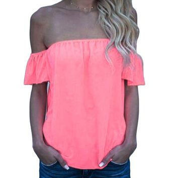 Off The Shoulder Sexy Ruffle Blouses For Women 2018 Ladies Summer Tops Office Shirts Short Sleeve Chiffon Blouse Femme Tunic