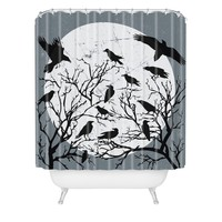 Heather Dutton Ravens Call Midnight Shower Curtain