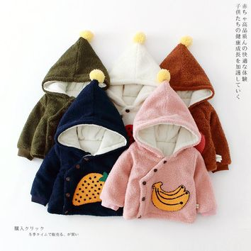 2018 Baby Magic Hat thickened surplice towel embroidery pattern with velvet jacket cotton fruit baby boy girl