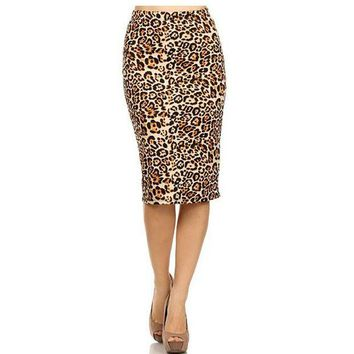 VONG2W 2017 Hot Ladies New Fashion Women's Leopard Pencil Skirt High Waist Floral Grid Printing Middle Skirts Muti Colors