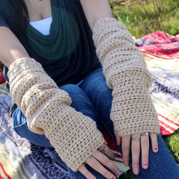 FREE Shipping - Fingerless, Extra, Long, Gloves - Tan